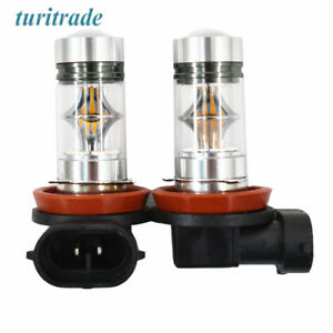 2x H8 H9 H11 Cree 100w 3000k Amber Yellow High Power Led Fog Lights Driving Bulb