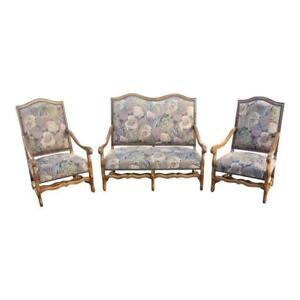 Set Of Settees And Armchairs Solid Walnut Louis Xiii Style Os De Mouton As Is