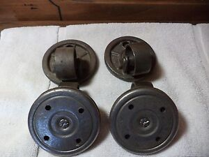 Set Of 4 Antique Cast Iron Industrial Swivel Bearing Caster Wheels 3 3 8