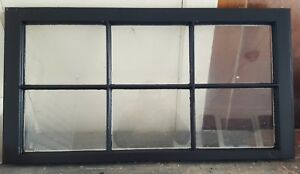 Architectural Salvage 36x20 6 Pane Antique Window Sash Painted Black