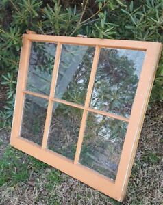 32x28 Antique Window Sash Architectural Salvage Orange