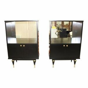 Beautiful Pair Of French Art Deco Ebonized Tall Sideboard Display Cabinets
