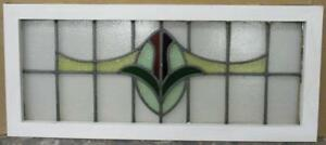 Large Old English Leaded Stained Glass Window Wonderful Floral 36 X 15 75