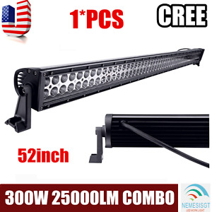 52inch 300w Cree Led Work Lights Bar Spot Flood Combo Driving Offroad 4wd Black