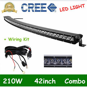 Curved 42inch 210w Single Row Cree Led Light Bar Slim Spot Flood Fog 40