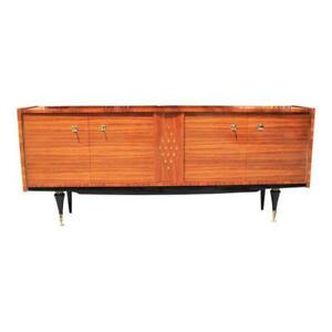 French Art Deco Light Macassar Sideboard With Diamond Mother Of Pearl Center