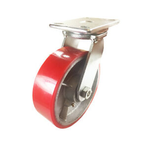8 X 2 1 2 Red Polyurethane On Cast Iron Casters Swivel