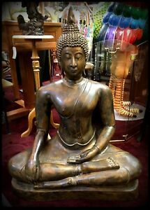 Very Fine Large Thai Brass Brass Ayutthaya Seated Buddha Shakyamuni 40 Tall