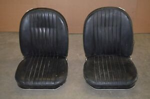 Vintage Folding Black Leather Bucket Seats Unknown Car Model Mustang Corvette