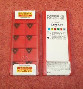 Sandvik Carbide Inserts Tcmt 09 02 04 pf Grade 4225 Sealed Pack Of 10