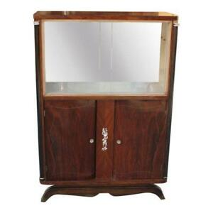 French Art Deco Macassar Ebony Bar Display Cabinet By Jules Leleu As Is