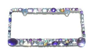 Chunky Mix Purples And Ab And Clear Crystal Rhinestone License Plate Frame Bling