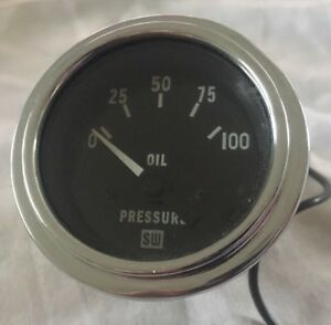 Vintage Sw Oil Pressure Gauge Stewart Warner 82116 New Nos 100psi 12v Hot Rod