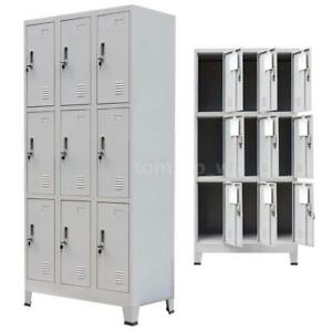 Locker Storage Cabinet Steel 9 Door Office School Gym Dress Changing Room H6i9