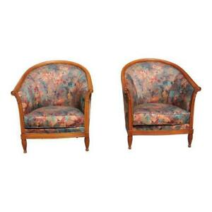 French Art Deco Club Chairs Solid Mahogany Attributed By Paul Follot Circa 1940s