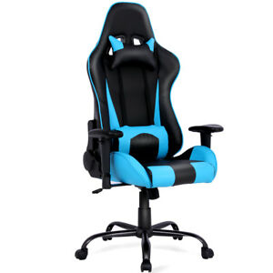 Gaming Chair Racing High Back Office Chair W Lumbar Support And Headrest Blue