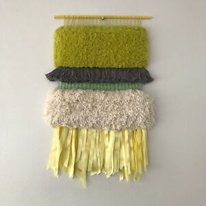 Colorful Hand Woven Tapestry Made With Cotton Silk N Wool Threads And Ribbons