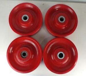 Lot Of 4 Solid 10 X 2 5 Industrial Caster Induthane Solid Red