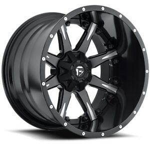 4 new 20 Inch Fuel D251 Nutz 20x10 5x5 5x5 5 19mm Black milled Wheels Rims