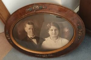 Beautiful Antique Oval Wooden Frame Bubble Glass Of A Man Woman Couple Photo