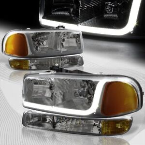For 1999 2006 Gmc Sierra 1500 2500 Drl Led Smoke Amber Headlights bumper 4pcs