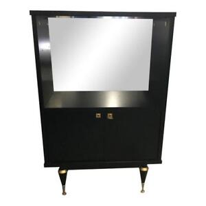 Monumental French Art Deco Ebonized Dry Bar Cabinet 1940 S