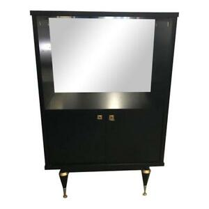 Monumental French Art Deco Ebonized Dry Bar Cabinet 1940 S As Is