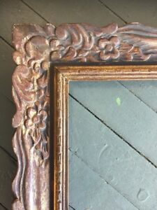 Vtg Mid Century Wood Frame Carved French Antique Gold 24 X 30