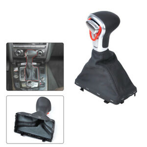 Outstand Leather Chrome Gear Shift Knob With Gaiter Boot Cover Fit For Audi Trig