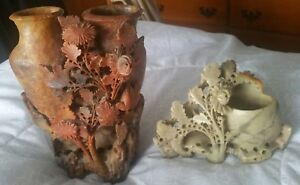 2 Vintage Hand Carved Soapstone Or Alabaster Oriental China Floral