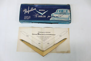 Nos 1950 1951 1952 Ford Trunk Gold Vee Emblem Perfection Accessory Trim Molding