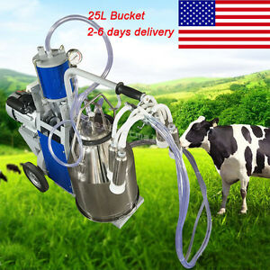 Movable Milker Electric Piston Vacuum Pump Milking Machine For Cows Bucket 25l