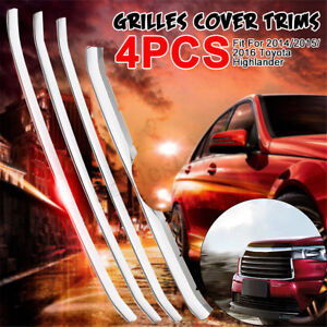 4x Front Lower Grill Grilles Cover Trims For 2014 2015 2016 Toyota Highlander