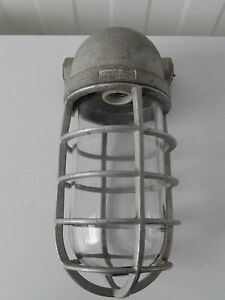 Vintage 1940 Steampunk Industrial Explosion Proof Crouse Hinds Cage Light Lamp