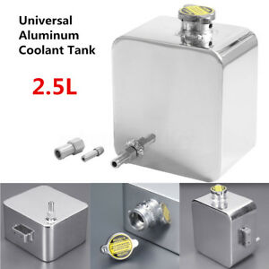 Universal Polished 2 5l Aluminum Coolant Radiator Overflow Recovery Tank Sliver