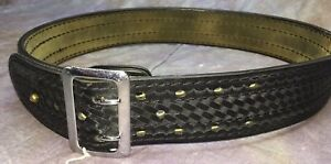Sel Vintage Safariland Basketweave Black Leather Police Duty Belt 34