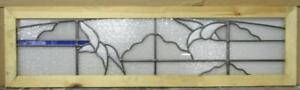 Large Old English Leaded Stained Glass Window Abstract Birds 43 5 X 26 25