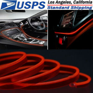 5m 12v Red Neon Led Light Glow El Wire String Strip Rope Tube Car Interior Decor