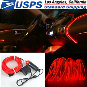 5m 12v El Wire Red Cold Light Neon Car Atmosphere Unique Decor For Chevrolet