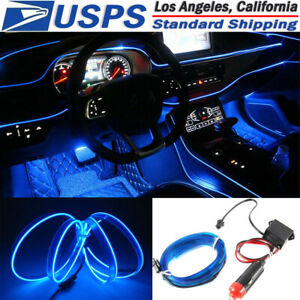 3m 12v Blue Neon Led Light Glow El Wire String Strip Rope Tube Car Interior Dec
