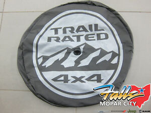 2018 2020 Jeep Wrangler Trail Rated Spare Tire Cover W Back Up Camera Bezel Oem