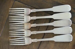 C1830 Antique 5pc Imperial Russian Sterling Silver Dinner Forks 362 7g