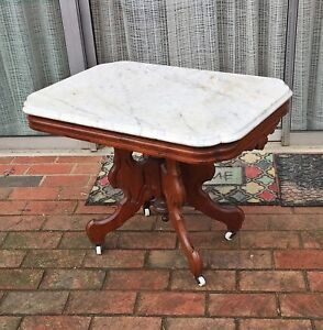 Antique American Victorian Walnut Marble Top Table Shortened