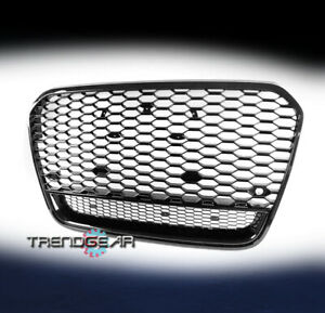 Front Mesh Rs6 Style Bumper Hood Hex Grille Black For 2012 2014 Audi A6 Quattro