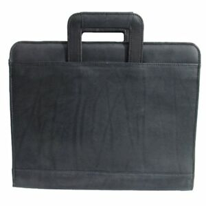 Piel Leather Unisex 3 Ring Binder With Handle 9281 Black Leather One Size