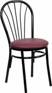 New Metal Fan Back Restaurant Chairs W Burg Vinyl Seat Lot Of 20 Chairs