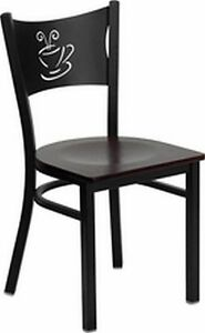 New Metal Coffee Restaurant Chairs Mahog Seat Lot Of 20 Chairs free Shipping