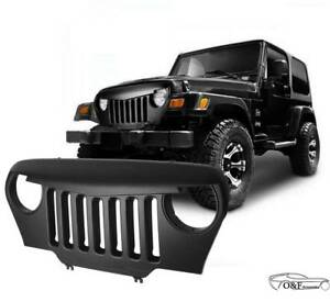 For 1997 2006 Jeep Wrangler Tj Front Matte Black Grill Angry Bird Grille