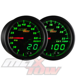 Black Maxtow Digital Analog 60psi Diesel Boost 2200 F Egt Pyrometer Gauge Set