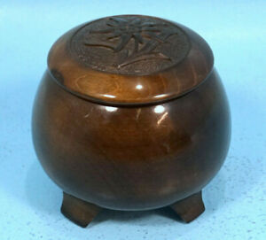 Antique Swiss Black Forest Wood Carved Humidor Trinket Box Edelweis Relief C1920